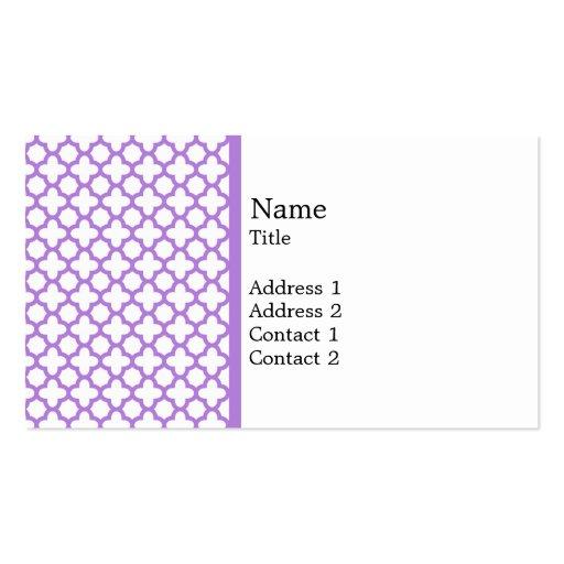 Lavender Quatrefoil Pattern Business Card