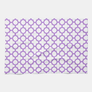 Lavender Quatrefoil Pattern Kitchen Towel