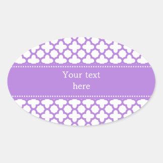 Lavender Quatrefoil Pattern Oval Sticker