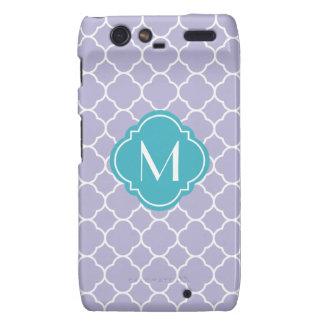 Lavender Quatrefoil Pattern with Monogram Motorola Droid RAZR Covers