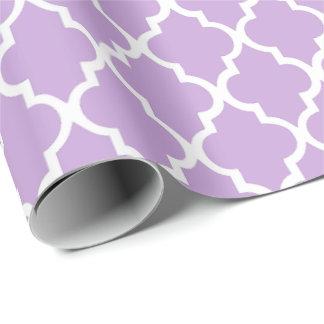 Lavender Quatrefoil Tiles Pattern Wrapping Paper
