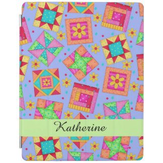 Lavender Quilt Patchwork Block Name Personalized iPad Cover