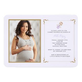Lavender Rattle Photo Baby Shower Invitation
