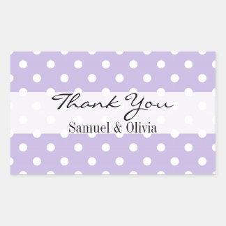 Lavender Rectangle Custom Polka Dotted Thank You Rectangular Sticker