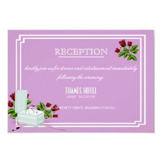 Lavender Red Roses Wedding Reception Card
