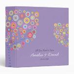 Lavender Retro Circle Tree Wedding Album 3 Ring Binder