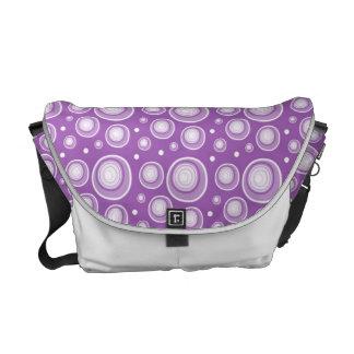 Lavender Retro Dots Rickshaw Messenger Bag