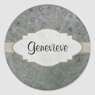 Lavender Retro Floral Abstract Nameplate Round Stickers