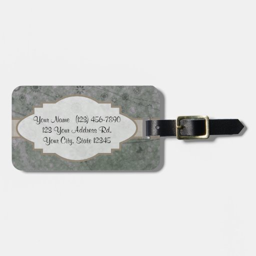Lavender Retro Floral Abstract Nameplate Tags For Luggage