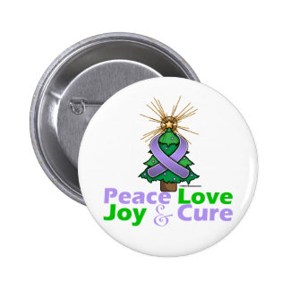 Lavender Ribbon Christmas Peace Love, Joy & Cure 2 Inch Round Button