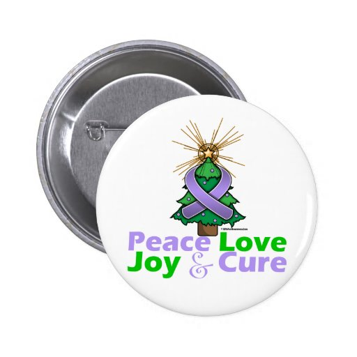 Lavender Ribbon Christmas Peace Love, Joy & Cure Pin