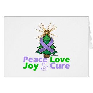 Lavender Ribbon Christmas Peace Love, Joy & Cure Greeting Card