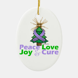 Lavender Ribbon Christmas Peace Love, Joy & Cure Double-Sided Oval Ceramic Christmas Ornament