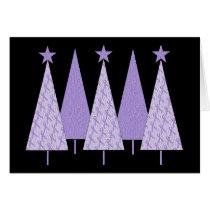 Lavender Ribbon Christmas Trees - General Cancer Card
