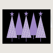 Lavender Ribbon Christmas Trees - General Cancer Card