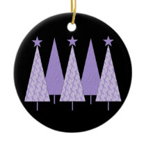 Lavender Ribbon Christmas Trees - General Cancer Ceramic Ornament