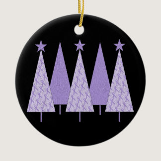 Lavender Ribbon Christmas Trees - General Cancer Ceramic Ornament