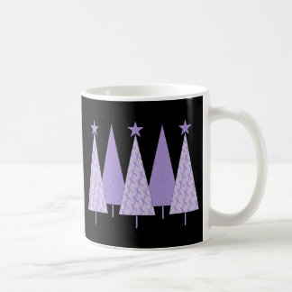 Lavender Ribbon Christmas Trees - General Cancer Coffee Mug