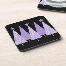 Lavender Ribbon Christmas Trees - General Cancer Drink Coaster