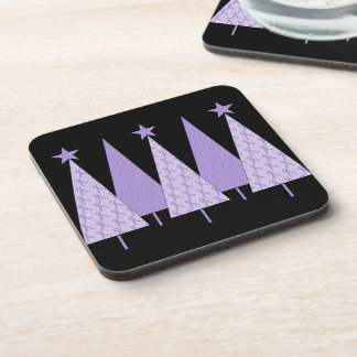 Lavender Ribbon Christmas Trees - General Cancer Drink Coaster
