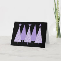 Lavender Ribbon Christmas Trees - General Cancer Holiday Card