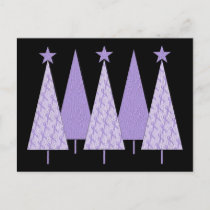 Lavender Ribbon Christmas Trees - General Cancer Holiday Postcard