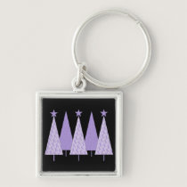 Lavender Ribbon Christmas Trees - General Cancer Keychain