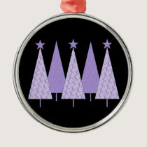 Lavender Ribbon Christmas Trees - General Cancer Metal Ornament