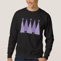 Lavender Ribbon Christmas Trees - General Cancer Sweatshirt