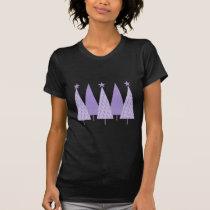 Lavender Ribbon Christmas Trees - General Cancer T-Shirt