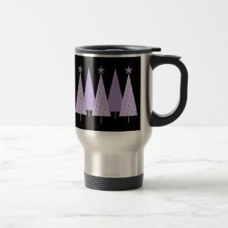 Lavender Ribbon Christmas Trees - General Cancer Travel Mug