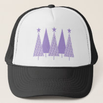 Lavender Ribbon Christmas Trees - General Cancer Trucker Hat