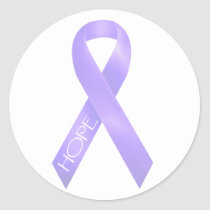 Lavender Ribbon Classic Round Sticker