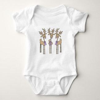 Lavender Ribbon Reindeer - General Cancer Baby Bodysuit