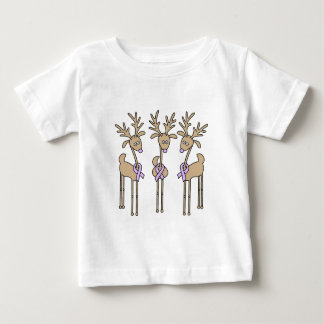 Lavender Ribbon Reindeer - General Cancer Baby T-Shirt
