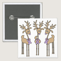Lavender Ribbon Reindeer - General Cancer Button
