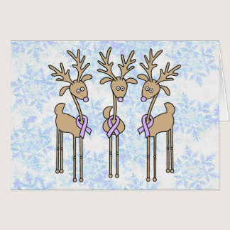 Lavender Ribbon Reindeer - General Cancer Card