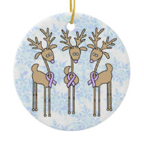 Lavender Ribbon Reindeer - General Cancer Ceramic Ornament
