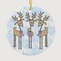 Lavender Ribbon Reindeer - General Cancer Ceramic Ornament