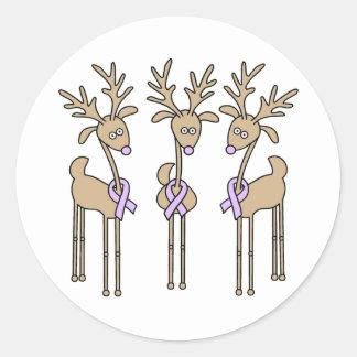 Lavender Ribbon Reindeer - General Cancer Classic Round Sticker