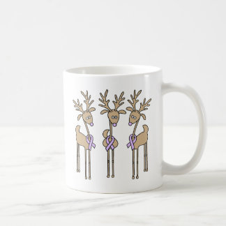 Lavender Ribbon Reindeer - General Cancer Coffee Mug