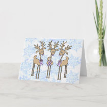 Lavender Ribbon Reindeer - General Cancer Holiday Card