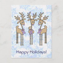 Lavender Ribbon Reindeer - General Cancer Holiday Postcard