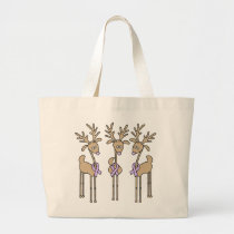 Lavender Ribbon Reindeer - General Cancer Large Tote Bag
