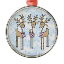 Lavender Ribbon Reindeer - General Cancer Metal Ornament