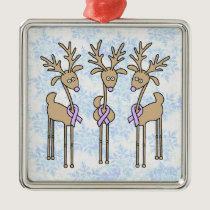 Lavender Ribbon Reindeer - General Cancer Metal Ornament