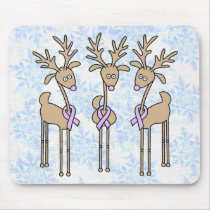 Lavender Ribbon Reindeer - General Cancer Mouse Pad