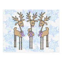 Lavender Ribbon Reindeer - General Cancer Postcard
