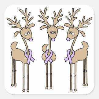 Lavender Ribbon Reindeer - General Cancer Square Sticker