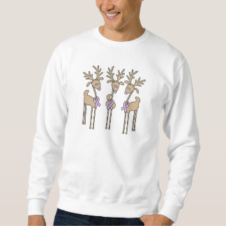 Lavender Ribbon Reindeer - General Cancer Sweatshirt
